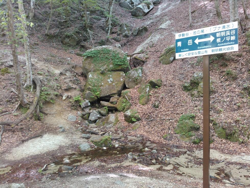中央の岩の下から清水が湧き出ています